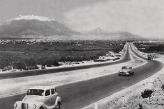 The newly constructed National road seen from the foot of the Tygerberg Hills. 1950s