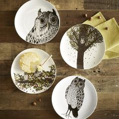 Owl Dessert Plates - Autumn..perfect for fall..and my dining room table