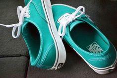 Teal Vans sneakers