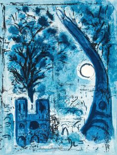 Marc Chagall (1887-1985) Notre-Dame et la Tour Eiffel lithograph printed in colors, 1960, signed in pencil.