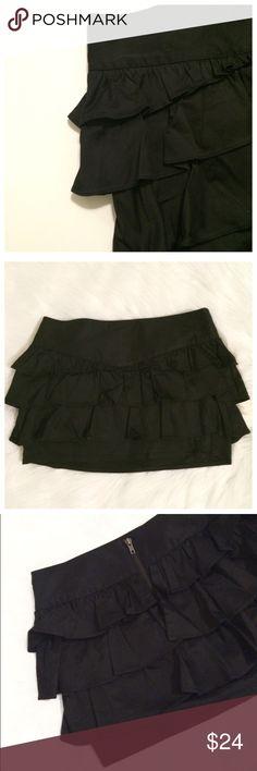 "Sale🎉MANGO Black ruffle skirt size 6 S Like new, never worn MANGO Casual Sport Wear ruffle skirt size 6 S. Dimensions, waist:15"", length: 12"". Mango Skirts Mini"
