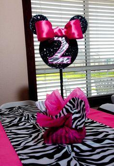 "Photo 9 of Minnie Mouse and Zebra Print / Birthday ""Bethenny Turns Zebra Print Party, Zebra Print Birthday, Minnie Mouse 1st Birthday, Mickey Mouse Parties, Mickey Party, Birthday Fun, First Birthday Parties, Birthday Ideas, Homemade Birthday"