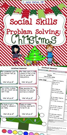 Task cards & worksheets for social problem solving related to Christmas for upper elementary $