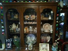 Christmas decor, over top of china cabinet