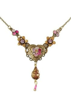 Vintage Looking Michal Negrin Admirable Necklace Ornate with Heart Shaped Locket Medallion, Hand Painted Flowers, Gray and Pink Swarovski Cr...