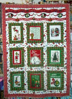 oversized Lap/twin Fun, Bright Dr. Seuss How the Grinch Stole Christmas Quilt made with Suess grinch fabric from Robert Kaufman. $120.00, via Etsy.