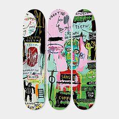 Basquiat Skateboard Triptych In Italian