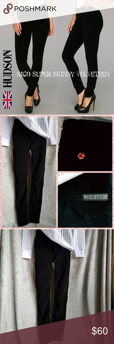 """Hudson Nico super skinny velveteen jeans, MINT! Hudson's popular Nico skinny fit in plush black velveteen, with a comfortable mid-rise. These soft, stretchy, velvety jeans are in MINT condition. Wish they were my size! 😭😭 If you're a 28, you won't want to pass these up!!!  Style #WM407VEL-BLK 98% cotton, 2% lycra. Flat: waist 14.5"""", rise 9"""", inseam 29.5"""". Hudson Jeans Jeans Skinny"""