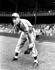 PETE GRAY DEBUTS  SPORTSMANS PARK, ST. LOUIS, APRIL 17, 1945  Gray, natural righthanded thrower, lost right arm in childhood farming accident. Still made it to majors during World War II and got a hit in second at-bat of 7-1 win over Tigers. Was subject of 1986 made-for-TV movie, his OF glove is in Hall of Fame. Photo Credit: AP
