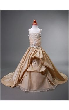 Ball Gown Spaghetti Straps Court Train Taffeta Flower Girl Dress