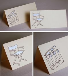 Old Hollywood Director Chair Movie Clapper Wedding Place Cards Option 1