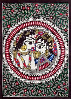 Modern Folk Embroidery Radha Krishna - The Divine Lovers - Folk Art Paintings (Madhubani Folk Art on Paper - Unframed) Krishna Painting, Madhubani Painting, Krishna Art, Pichwai Paintings, Indian Art Paintings, Abstract Paintings, Landscape Paintings, Indian Traditional Paintings, Traditional Art