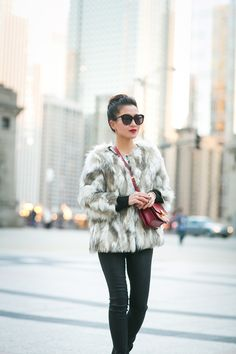 Faux Fur jacket pinned from Wendy's Lookbook: Cozy Weekend :: Warm jacket & Ankle strap booties