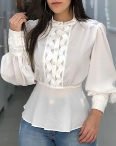 Women's Fashion Tops Online Shopping – IVRose Blouse Styles, Blouse Designs, Over 60 Fashion, Look Blazer, Fashion Tips For Women, Pattern Fashion, Blouses For Women, Fashion Dresses, Fashion Hats