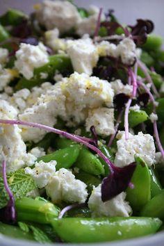 Salad of Sugar Snap Peas, Feta, Radish Greens and Mint by hitherandthither #Salad #Sugar_Snap_Peas #Radish_Greens #Mint