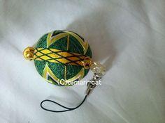 絹てまりストラップ「晴明桔梗」緑地黄 手まり 手毬 手鞠