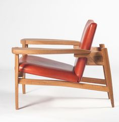 Anonymous; Oak and Leather Lounge Chair, c1965.