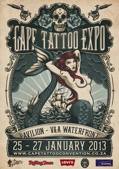 One Horse Town Illustration Studio Cape Town, South Africa Cape Tattoo Expo 2013 on Behance Buch Design, Design Art, Coala Tattoo, Convention Tatouage, Tattoo Posters, Tattoo Expo, Lettering, Typography, Illustrations And Posters
