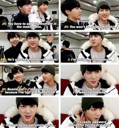 #Jin doesn't have confidence wearing a beanie. How cute awww  you look so cute though ❄ #BangtanBomb