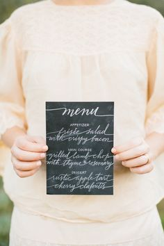 Chalkboard inspired dinner menu with calligraphy // European Boho Inspired Photo Shoot from Marianne Wilson Photography + Knot Just Flowers  Read more - http://www.stylemepretty.com/california-weddings/2013/06/18/european-boho-inspired-photo-shoot-from-marianne-wilson-photography-knot-just-flowers/