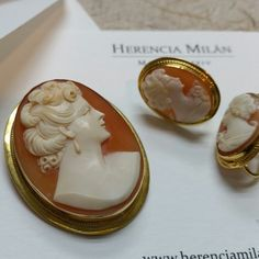 14k gold handcarved shell cameo pendant/brooch and earring set