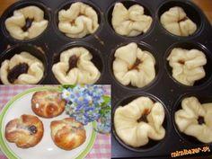 Koláčiky plnené slivkovým lekvárom a pečené v plechu na muffiny | Mimibazar.sk Doughnut, Sweet, Food, Basket, Candy, Essen, Meals, Yemek, Eten