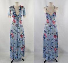 4ae7823d9ecd 1970s Light Blue Stylized Floral Print Maxi Dress and Matching Bolero by  Plain Jane