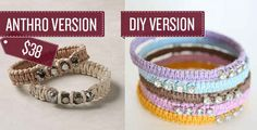 Craft some woven rope bracelets. With a few cheap supplies from a craft store, you can whip up a set of your own. Instructions here @yellowblackbird.blogspot.com