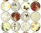 2 inch circles vintage printable tags background ephemera scan rose flower girl lady round images Printable Download Digital Collage Sheet Digital Form, Digital Collage, Printable Tags, Printables, A4 Paper, Capsule, Collage Sheet, Salts, Jewelry Making Beads