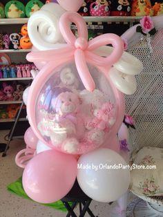 Regalo de globo relleno con osito para baby shower. #RegaloBabyShower