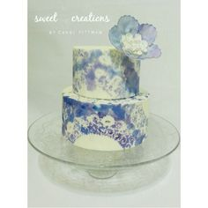 Watercolor doily pattern on fondant. New design inspired by an invitation from Aimee at the Elephant of Surprise. Original cake design by Sweet Creations by Candi  #sweetcreationsbycandi