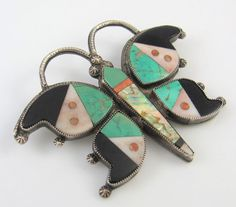Old Pawn Zuni Sterling Silver Multi-Stone Inlay Butterfly Pin Brooch | RS