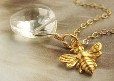 soradesigns  tiny bee necklace
