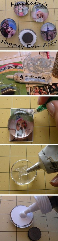Photo Magnets with Glass Gems ~ cute gift for grandparents!!! :D