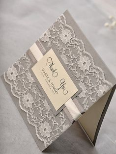 Custom répertoriant 50 cartes de remerciement de mariage avec des photos imprimées, dentelle gris Merci carte Vintage mariage Merci,