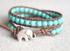 Blue Turquoise Magnesite Boho beaded leather wrap bracelet,