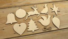Wooden set Christmas tree decoration for craft embellishments hanging shapes   eBay