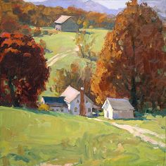 """Mountain Farm"" by Richard Oversmith. Oil ~ 18 x 18"