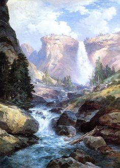 Yosemite waterfall by Thomas Moran, realist painting