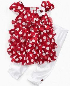 Little Girls Ruffle Dress & Leggings - Macy's