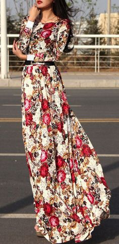 Long -sleeved maxi dress LOVE this print <3