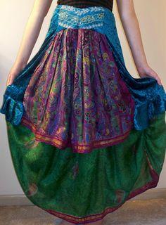 Double Skirt Upcycled Sari Green Raspberry Blue by discordthreadz, because she rocks.