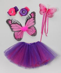Take a look at this Purple & Hot Pink Butterfly Dreams Tutu Set by Fairytales & Fantasies on #zulily today!