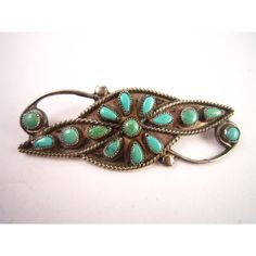 Vintage Native American Zuni sterling silver turquoise brooch pin ($60) ❤ liked on Polyvore featuring jewelry and brooches