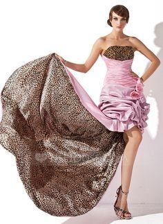 Prom Dresses - $154.99 - A-Line/Princess Strapless Asymmetrical Taffeta Prom Dress With Ruffle Beading Flower(s) (018021002) http://jjshouse.com/A-Line-Princess-Strapless-Asymmetrical-Taffeta-Prom-Dress-With-Ruffle-Beading-Flower-S-018021002-g21002