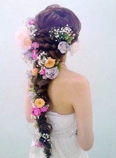 Wedding Hairstyles Asian Hair Flower 23 Ideas For 2019 Pretty Hairstyles, Braided Hairstyles, Wedding Hairstyles, Rapunzel Braid, Flower Braids, Hair Arrange, Asian Hair, Creative Hairstyles, Hair Art