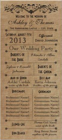 Rustic Typography Wedding Programs Template #wedding