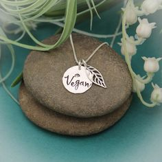 Vegan Leaf Necklace Vegan Pride Necklace Vegan Jewelry Gift | Etsy #tracytayandesigns #etsyseller #vegangift #vegannecklace