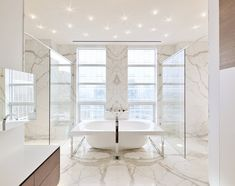 Bath, Shower, Glass Walls, Yorkville Penthouse II in Toronto, Canada by Cecconi Simone