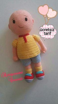 Amigurumi Cenneti: Caillou yapılışı – Free Pattren – My CMS Crochet Dolls Free Patterns, Baby Knitting Patterns, Amigurumi Patterns, Crochet Toys, Crochet Baby, Caillou, Baby Toys, Amigurumi Toys, Toys For Boys